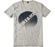 Herren T-Shirt Baumwoll-Mix -grau meliert