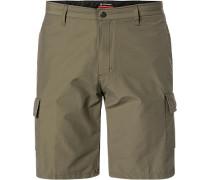 Herren Hose Shorts, Tailored Fit, Baumwoll-Nylon, khaki grün
