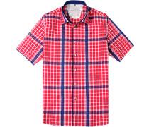 Herren Hemd Regular Cut Baumwolle rot-blau kariert