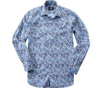Herren Hemd Popeline blau gemustert