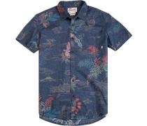 Herren Hemd Modern Fit Popeline blau-rot gemustert