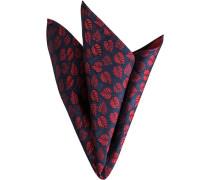 Herren Accessoires Einstecktuch, Seide, tiefseeblau-marsala gemustert rot