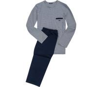 Herren Schlafanzug Pyjama Baumwolle navy-weiß gestreift blau