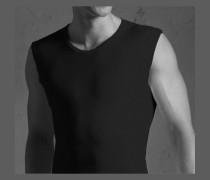 Herren Unterwäsche Tanktop, Mako Baumwolle, schwarz