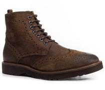 Herren Schuhe Schnürstiefeletten, Veloursleder, braun