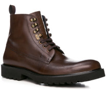 Herren Schuhe Stiefeletten, Leder, kastanienbraun