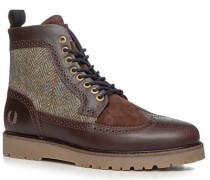 Herren Schuhe Stiefeletten Velours-Glattleder-Mix braun braun,blau