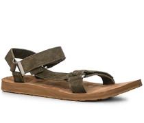 Herren Schuhe Sandalen, Nubukleder, olivgrün
