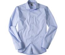 Herren Hemd Strukturgewebe aqua gemustert blau
