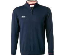 Pullover Troyer Baumwolle-Kaschmir navy