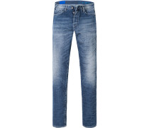 Herren Jeans Straight Fit Baumwoll-Stretch jeansblau