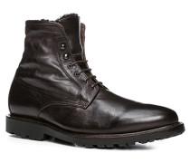 Herren Schuhe Schnürstiefelette, Kalbleder warm gefüttert, schokobraun