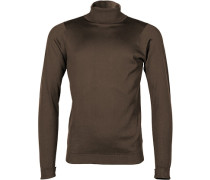 Herren Pullover Rollkragen Sea Island Cotton dark leather braun