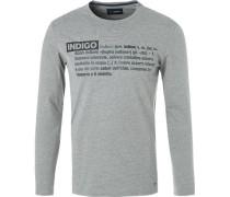 T-Shirt Longsleeve, Baumwolle, hell meliert
