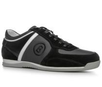 Herren Schuhe Sneaker, Veloursleder-Textil, schwarz