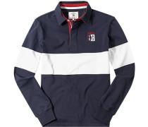 Herren Rugby-Shirt, Baumwolle, navy-off white gestreift blau