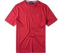Herren T-Shirt Baumwoll-Mix rot meliert