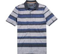 Herren Polo-Shirt Baumwolle mercerisiert blau gestreift