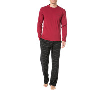Herren Schlafanzug Pyjama, Baumwolle, rot gemustert
