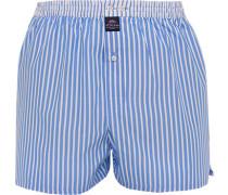 Herren Unterwäsche Boxershorts, Baumwolle, hellblau-weiß gestreift