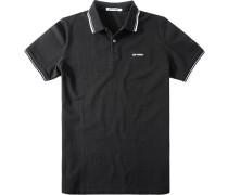Herren Polo-Shirt Modern Fit Baumwoll-Piqué schwarz