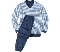 Herren Schlafanzug Pyjama Baumwolle Hellblau-Marine gestreift