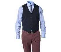 Herren Anzug Weste Material-Mix dunkelblau