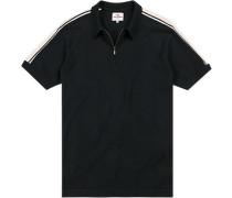 Herren Pullover Zip-Polo, Regular Fit, Baumwolle, dunkelblau