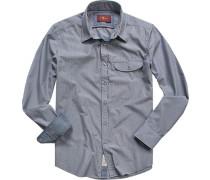 Herren Hemd Baumwolle blau-weiß gestreift