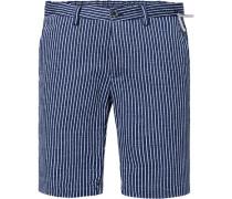 Herren Hose Bermudashorts, Slim Fit, Baumwolle, marineblau-weiß gestreift