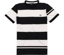 Herren T-Shirt Baumwolle nachtblau-off white gestreift