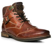 Herren Schuhe Boots, Leder warmgefüttert, kastanienbraun