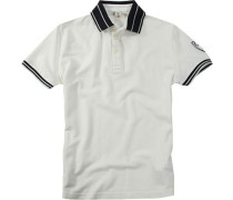 Herren Polo-Shirt Baumwoll-Piqué creme weiß