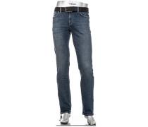 Herren Jeans Pipe Regular Slim Fit Bauwoll-Stretch jeansblau