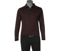Herren Polo-Shirt Baumwolle bordeaux-schwarz meliert rot