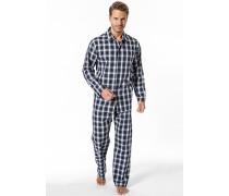 Herren Schlafanzug Pyjama Baumwolle grün-weiß kariert