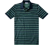 Herren Polo-Shirt Baumwoll-Jersey marine-grün gestreift blau