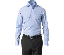 Herren Hemd Regular Fit Popeline himmelblau-weiß kariert