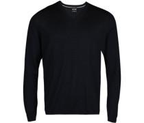 Herren Pullover, Modern Fit, Merinowolle, marine blau
