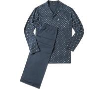 Herren Schlafanzug Pyjama Baumwolle rauchblau-gelb gemustert