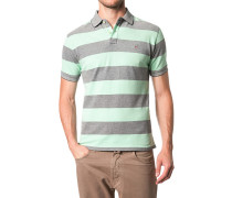 Herren Polo-Shirt Baumwoll-Piqué grün-dunkelblau