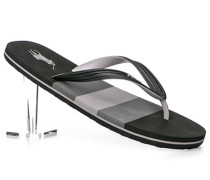 Herren Schuhe Zehensandalen, PVC, schwarz-grau gestreift