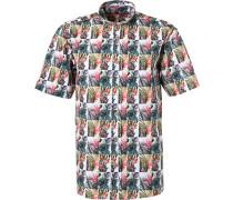 Kurzarmhemd Classic Fit Popeline  gemustert