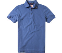 Herren Polo-Shirt Baumwoll-Stretch-Piqué blau