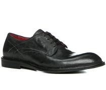 Herren Schuhe Derby, Kalbleder glatt, nero schwarz
