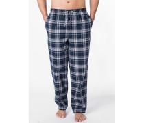 Herren Pyjamahose Baumwolle blau-grau kariert