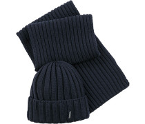Herren Schal+Mütze, Wolle, nachtblau