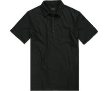 Herren Polo-Shirt Baumwolle schwarz meliert