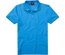 Herren Polo-Shirt, Slim Fit, Baumwoll-Piqué, himmelblau