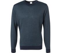 Herren Pullover Wolle navy-grün gemustert